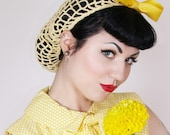 Hair Snood in Buttercup Yellow Crocheted from Vintage 1940's Design Retro Pinup
