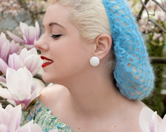 Hair Snood The Vintage Bunny in Sky Blue Mohair Crocheted from 1940's Design  Retro Pinup