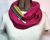 Handwoven and Knit Fuchsia Circle Scarf - Organic Cotton Jersey Knit - Cozy Infinity Snood