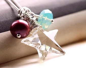 Necklace, Pearl. Swarovski. Silver. Berry and Ice. Starlet