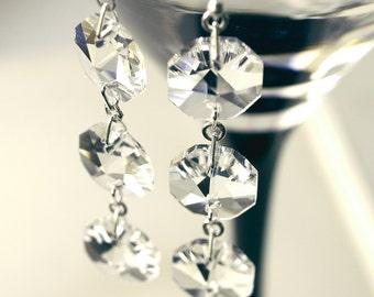 Earrings. Silver. Crystal. Chandelier. Gin Fizz.