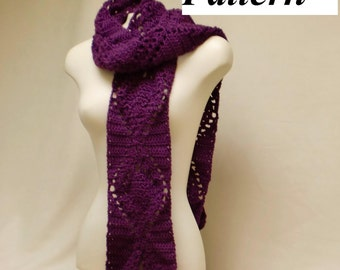 Easy Crochet Scarf Pattern, Pineapple Lace Crochet Neck Warmer, How To Crochet Scarves, DIY Lace Pattern