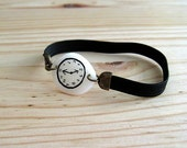 BLACK Fake watch with elastic watchband. Bracelet. One-of-a-kind Porcelain toy clock