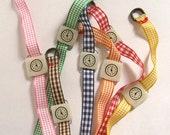 Retro toy watch bracelet. One-of-a-kind handmade fake clock with Gingham watchband.