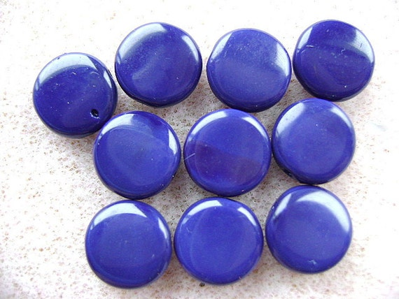Beads, Vintage, German, 1920s, 1940s, RARE, Glass ,NAVY, BLUE, flat, Round, Lentil, 10 Pieces