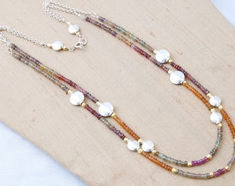 Multi-Colored Sapphire, Sterling Silver, Vermeil Necklace