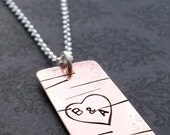 Engraved Jewelry - Personalized Necklace - Birch Tree w/ Couples Initials Inside of Heart - Birch Bark Pendant in Copper by EWD