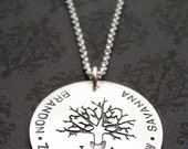 Personalized Family Tree Necklace - Oak Tree Pendant with Family Names and Initials - Custom Hand Drawn Design in Sterling Silver by EWD