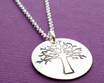 Woodland Jewelry - Oak Tree Pendant - Custom Tree of Life - Hand Stamped Sterling Silver Necklace by EWD - Graduation Jewelry