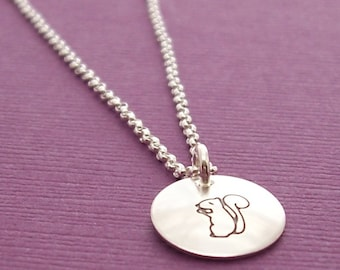 Woodland Squirrel Necklace in Sterling Silver - Hand Stamped Charm Necklace by Eclectic Wendy Designs