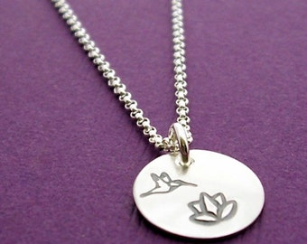 SALE - Hummingbird Necklace in Sterling Silver - Hand Stamped Hummingbird and Lily Flower Charm Necklace by Eclectic Wendy Designs