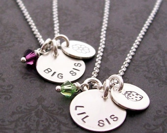 Sisters Jewelry - Big Sis and Lil Sis Necklace Set w/ Birthstone Crystals - Engraved, Handstamped Necklace in Sterling Silver