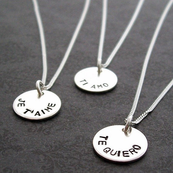SALE - Personalized Jewelry - Language of Love Necklace in Sterling Silver - Foreign Language Pendant - Hand Stamped, Engraved by EWD