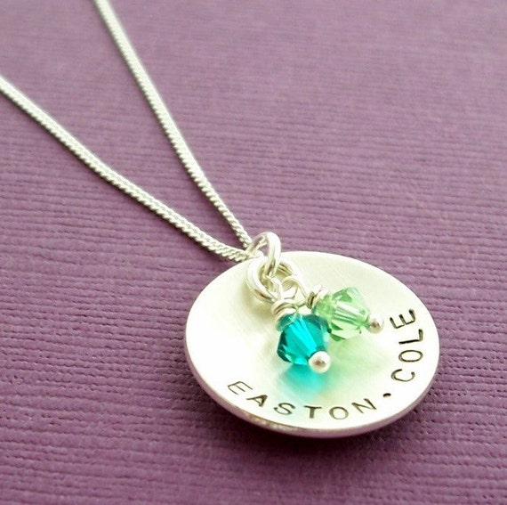 Mama's Cup of Love Necklace - EWD Handstamped Sterling Silver Pendant with Children's Names and Birthstone Crystals