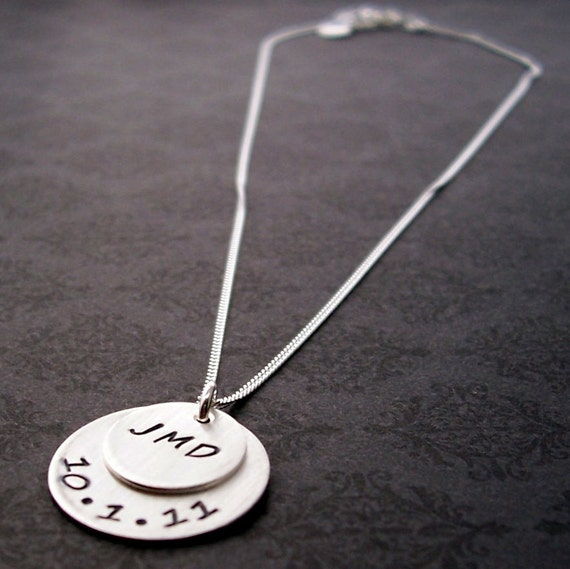 Wedding Date and Couples Initials Necklace - Hand Stamped Personalized Sterling Silver Pendant for the Bride