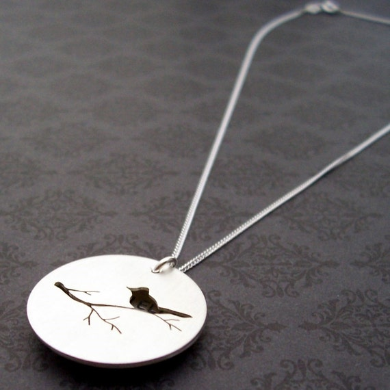 XL Mama Bird Locket Style Necklace- EWD Hand Stamped Sterling Silver - Pierced Bird on Branch Silhouette with Hidden Message