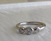 Diamond anniversary ring, recycled precious metal three stone diamond ring, alternative bridal ring or stacking diamond band