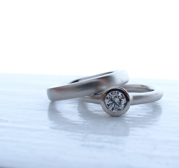 The Classic, palladium and diamond engagement and wedding band set