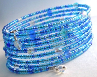 Aqua Blue Memory Wire Bracelet, Glass Beaded Cuff Bracelet, Cobalt Seed Bead Jewelry, Gifts Under 20