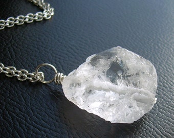 Crystal Quartz Pendant, Raw Rock Crystal Necklace, Rough Stone Jewelry