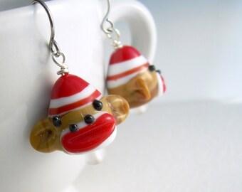 Sock Monkey Earrings, Cute Animal Jewelry, Fun Earrings For Gifts