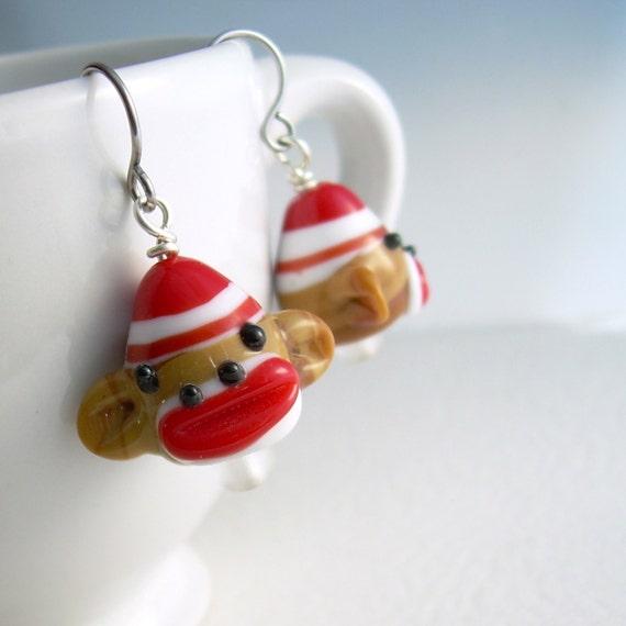 Sock Monkey Earrings, Cute Animal Jewelry, Fun Earrings For Girls, Gifts Under 15