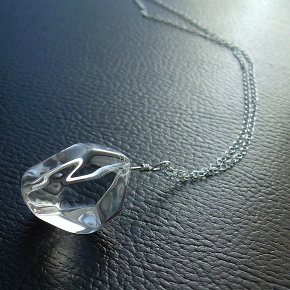 Clear Quartz Crystal Necklace, Rock Crystal Jewelry, White Quartz Pendant