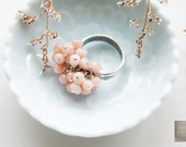 Cluster Ring Pink Opal Aquamarine Tourmaline Sterling Silver Embellishment Promise Ring