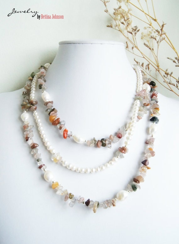 Multicolored tourmaline and Freshwater pearl necklace