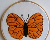Bright Orange Butterfly  - applique picture in hoop.