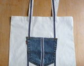 Levi's denim pocket customised canvas tote bag