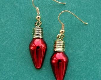 Christmas Earrings - Miniature Christmas Bulb Earrings - Classy Christmas Bulbs in Red - Red Earrings - Festive Christmas Jewelry