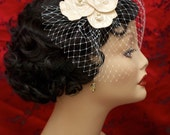 """Bridal Headpiece Blusher Veil with Art Nouveau Embroidered Flowers and Freshwater Pearls - Ivory, Champagne - """"Annabel"""""""