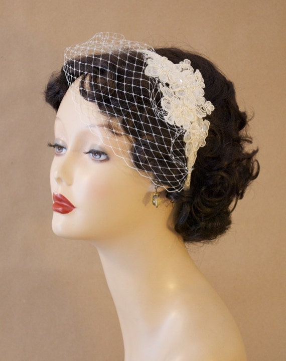 "Bridal Birdcage Veil Blusher with Alencon Lace, Bead, and Sequin Fascinator - ""Marcia"""