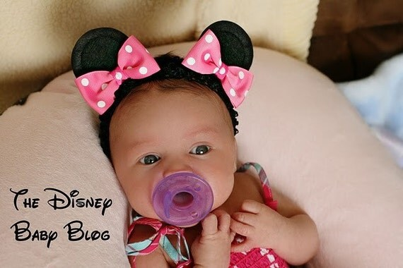 Minnie Mouse Ear Hair Clips on a Headband with Bows/Baby Style/kids gifts/size Small/You Pick Her Bow Color/gift