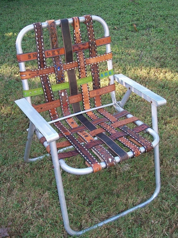 vintage aluminum folding LAWN CHAIR re-webbed with vintage western BELTS yee-haw.