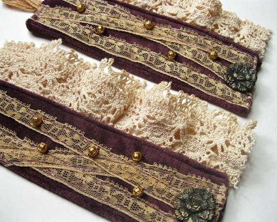 Velvet & Vintage Lace - Victorian Inspired Cuff Bracelets - Steampunk Romance
