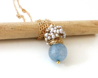 Aquamarine necklace - gold chain - The Laurent pendant - fresh necklace with big faceted aquamarine and silver sea pearls, March birthstone