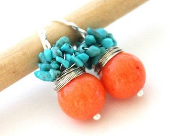 Orange earrings - The Orange Soralee - fresh earrings with round jade and cluster of turquoise stones, orange stone,