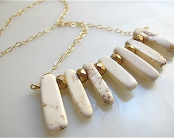 Gold necklace. White jewelry. Howlite stone necklace. Gold and cream. Drop necklace. KEYS