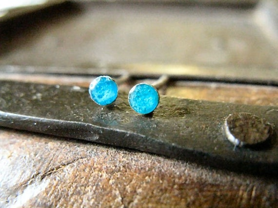Sterling silver dot post earrings turquoise