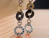 Steampunk Dangle Earrings Mixed Metal Hardware Jewelry Recycled Copper, Brass, Black and Textured Washers