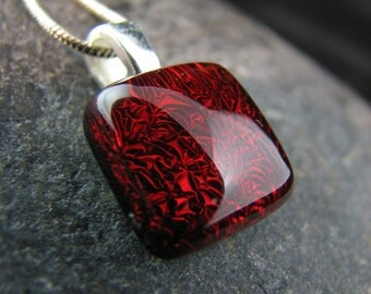 Garnet Red Fused Glass Necklace - Simple, Modern, Colorful