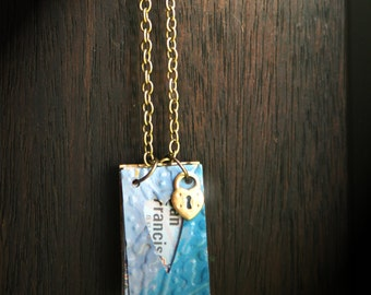 My Heart: US Map And Painted Brass Journal Necklace