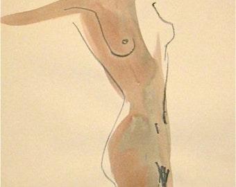 One Minute Pose XCIII.4 -original gesture sketch by Gretchen Kelly