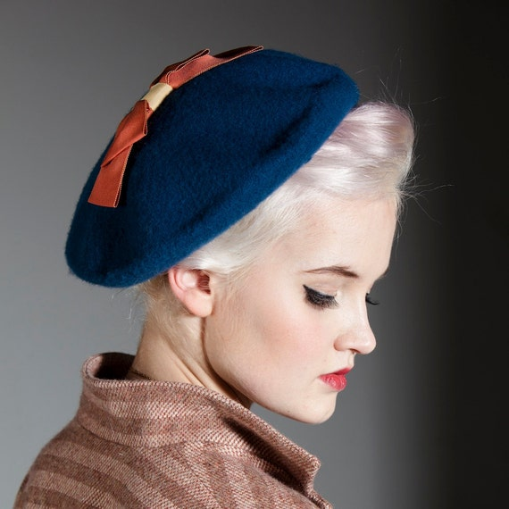 Birch Trees beret - 100% wool beret with grosgrain bow detail