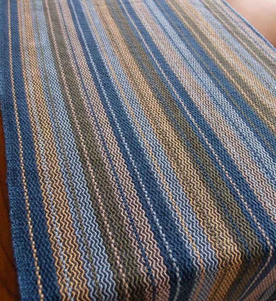 Handwoven Cotton Table Runner-  Winter Blue