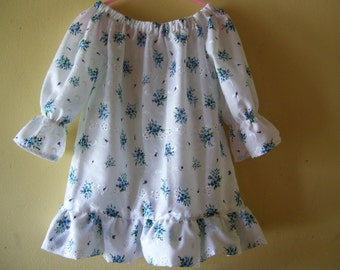 Girls Peasant Dress, Tunic, Bouquet on Eyelet, fits Children sizes 4 and 5