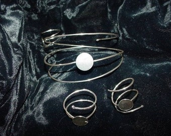 Springy Adjustable ring blank and Bracelet blank - SET - in .925 sterling silver - with glue pad for your button clay or glass - HANDMADE