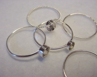 Single stacker ring blank - 925 sterling silver custom made to order - bezel 8mm  on 18 ga shank